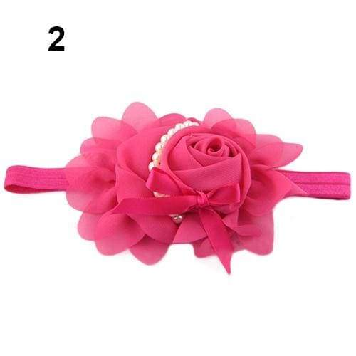 New Baby Girl's Chiffon Pearl Headband Rose Flower Hairband Photography Prop Band