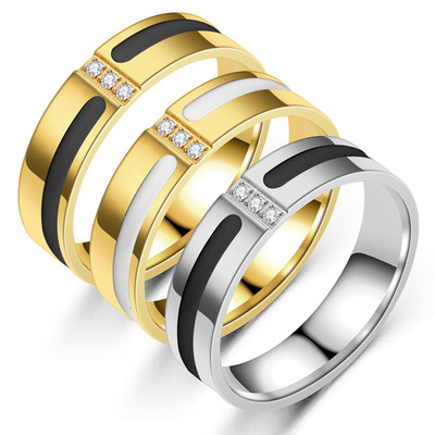 Black and Gold Frosted Ring Couple Zircon Inlaid Rings Men Women Ring