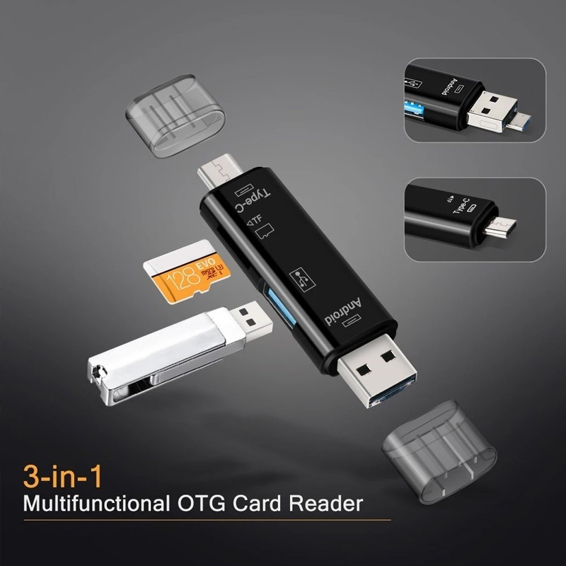 Multifunction 5 in 1 Type-C OTG Card Reader USB 2.0 Card Reader for Android Type C Phone / Computer / Type-c Universal TF Card