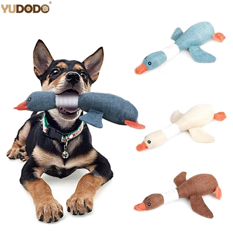 Cartoon Wild Goose Plush Dog Toys Resistance To Bite Squeaky Sound Pet Toy For Cleaning Teeth Puppy Dogs Chew Supplies