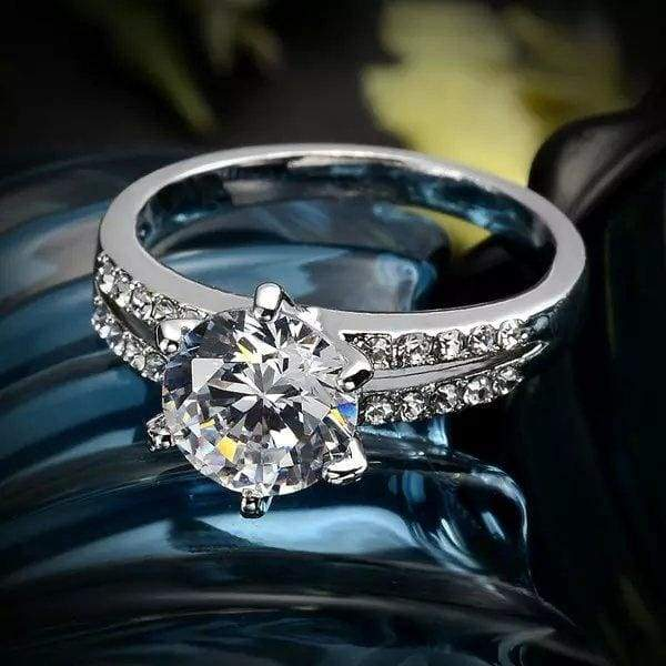 Romantic Wedding Elegant Crystal Zircon Ring Gold Silver Rings New Jewelry Fashion Party Bridal Bridesmaid Accessories Luxury Brand 17KM
