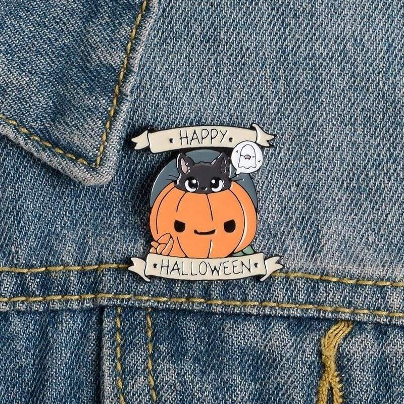 Happy Halloween Enamel Pin Pumpkin Elf Ghost Black Cat Witches Badge Brooch For Friend Gift
