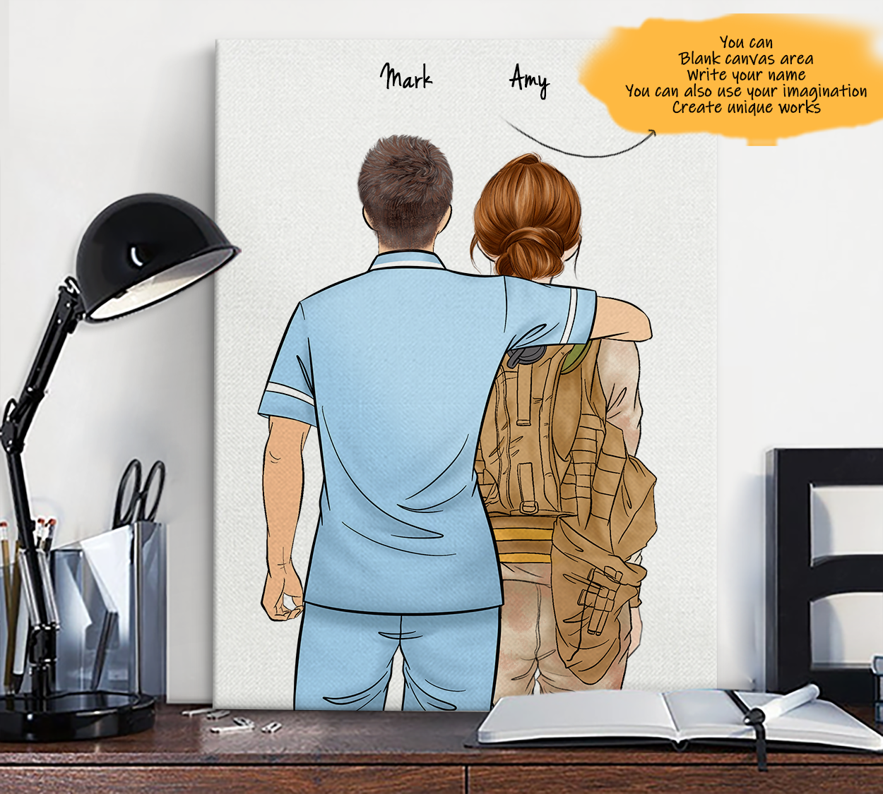 He is My Friend! Hand Draw Custom Canvas-Print Gift Paramedic-Light&Soldier1