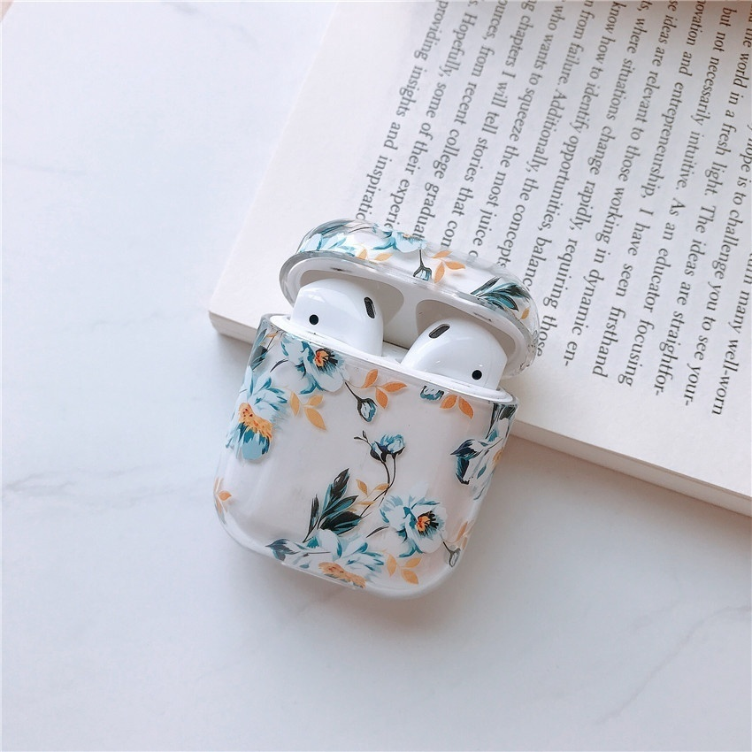 Women's Girls Fresh Sweet Style Fruit, Flowers, Flamingo Pattern Clear PC Hard Case Shockproof Protective Cover for Apple Airpods