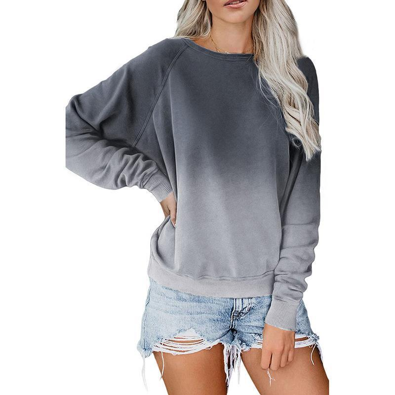 Women Long Sleeve Gradient Color Block Pullover Crewneck Sweatshirt