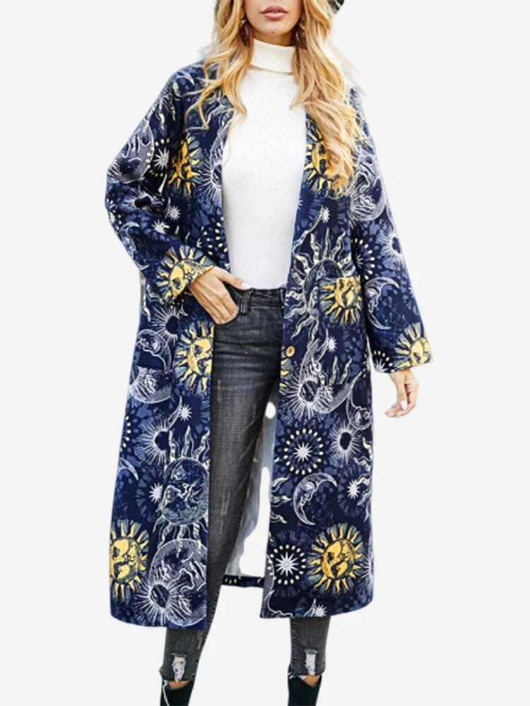 Fashion solor system print long cardigan button up turn-down collor coat