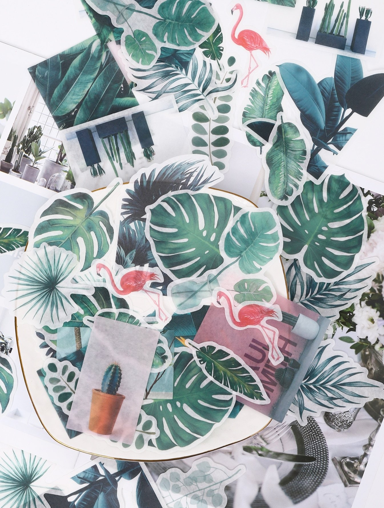 Tropical Leaf Print Sticker 60pcs