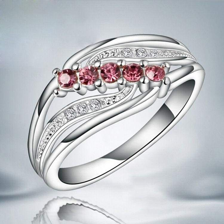 Size7-8 Elegant Lady Sliver Hollow Mosaic Five Red Diamond Wing Ring Gift