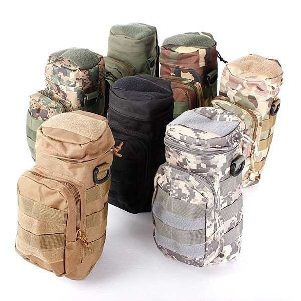 Outdoor Tactical Military Nylon Water Bottle Bag Zipper Military Sundries with Small Mess Pouch Bag Buffle Bag