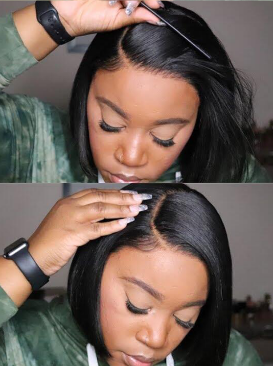 Pre-Bleached &Pre-Plucked Density Virgin Brazilian Hair Bob Wig