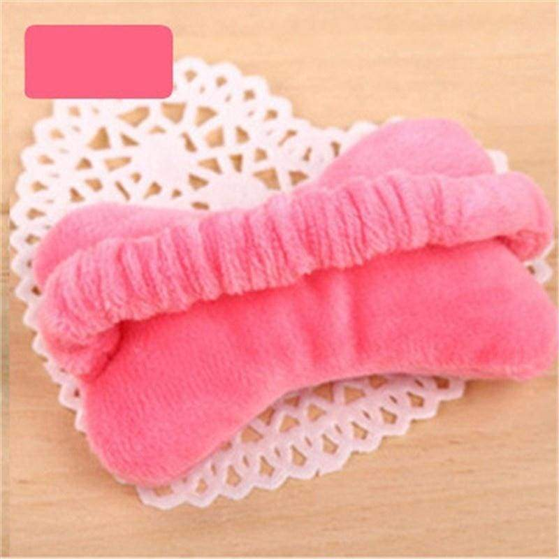 Cute Soft Multi-purpose Unisex Freely Moveable Bow Plush Mouse Wrist Guards Hair Band