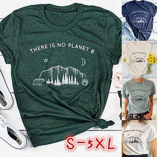 5 Color Women Fashion 'There Is No Planet B'letter Print Cotton Soft T-Shirt Clothing  Summer Casual Short Sleeve O-neck Graphic Tee Shirt Plus Size S-5XL Blouse Tee Loose Top