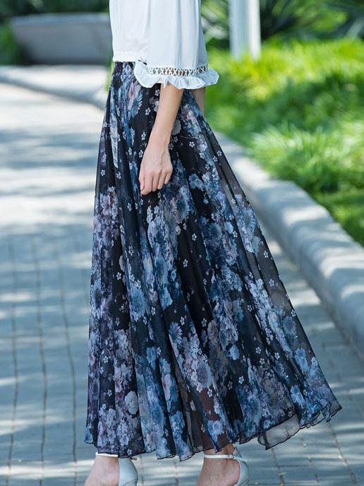 Color Maxi Casual Skirts