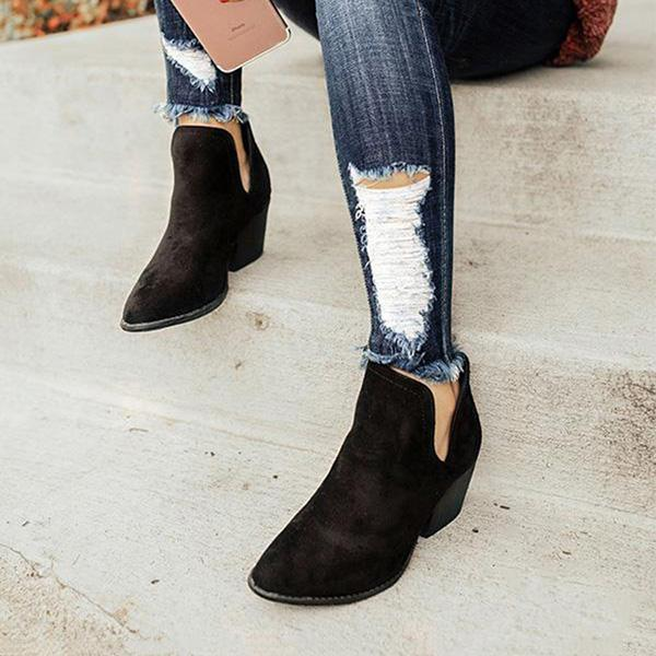 Faddishshoes Cut Out Booties Ankle Heels Boots