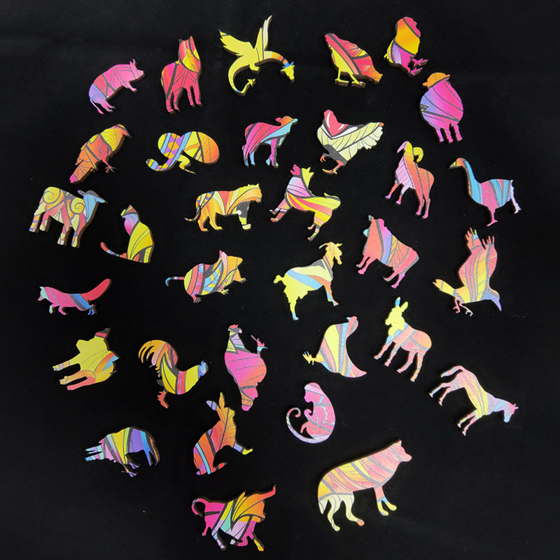 Wooden Puzzle For Adults Children DIY Wooden Puzzles Each Piece Is Animal Shaped The Best Christmas Gift