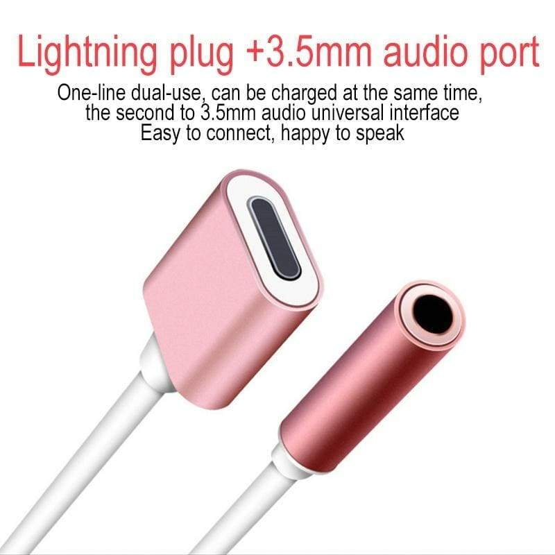 4 Colors 2 In 1 3.5mm Adapter Splitter Lightning Connector Headphone Charger Adapter Cable Lightning Adapter For IPhone X