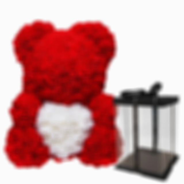 Arosetop Valentine's Rose Bear With Heart Luxury Teddy Bear 14 Inches