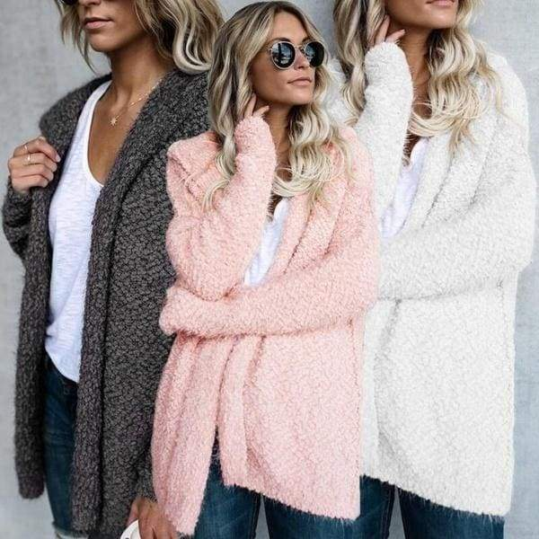 Women Hooded Cardigans Fur Fleece Winter Coat for Ladies Warm Plus Size Women Clothing Size S-5XL