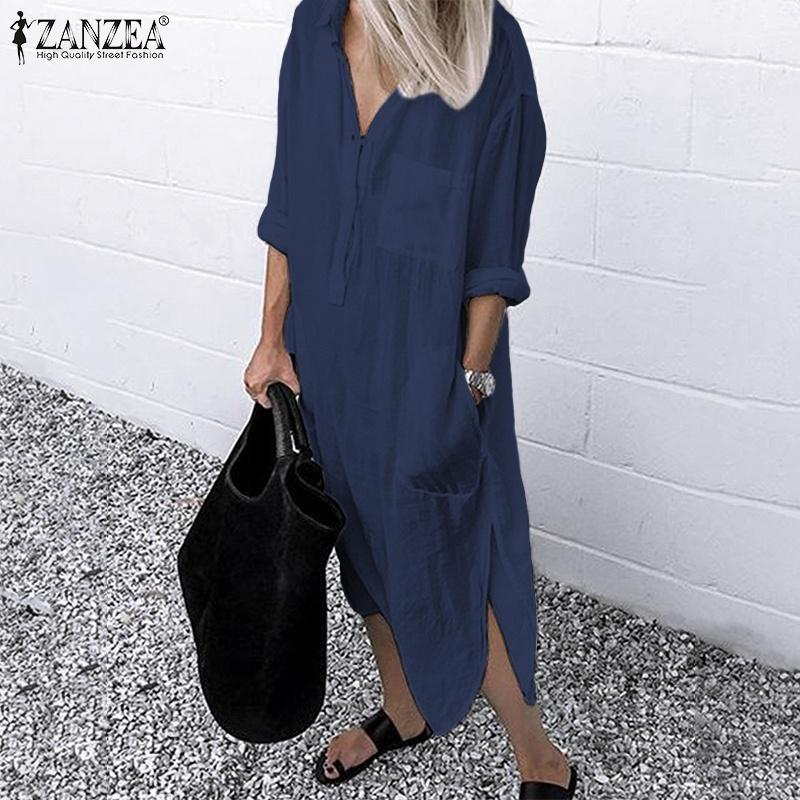 ZANZEA Women Long Sleeve Button Up Shirt Dress Kaftan Loose Baggy Oversized NEW