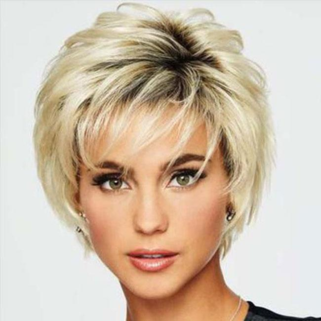 KAMI 083 Layered Short Retro Straight Wig with Wispy Bangs