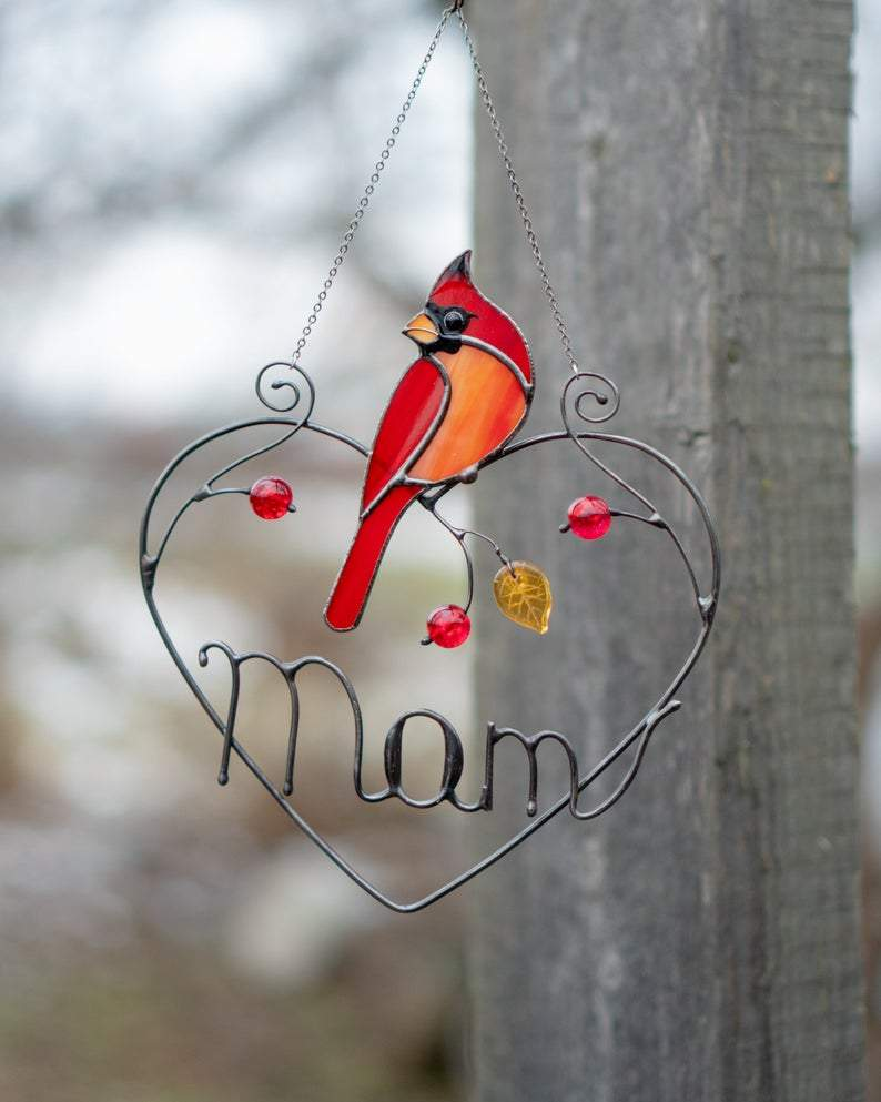 Stained Glass Cardinal Window Hangings Mothers Day Gift Stained Glass Bird Suncatcher Fathers Day Gift
