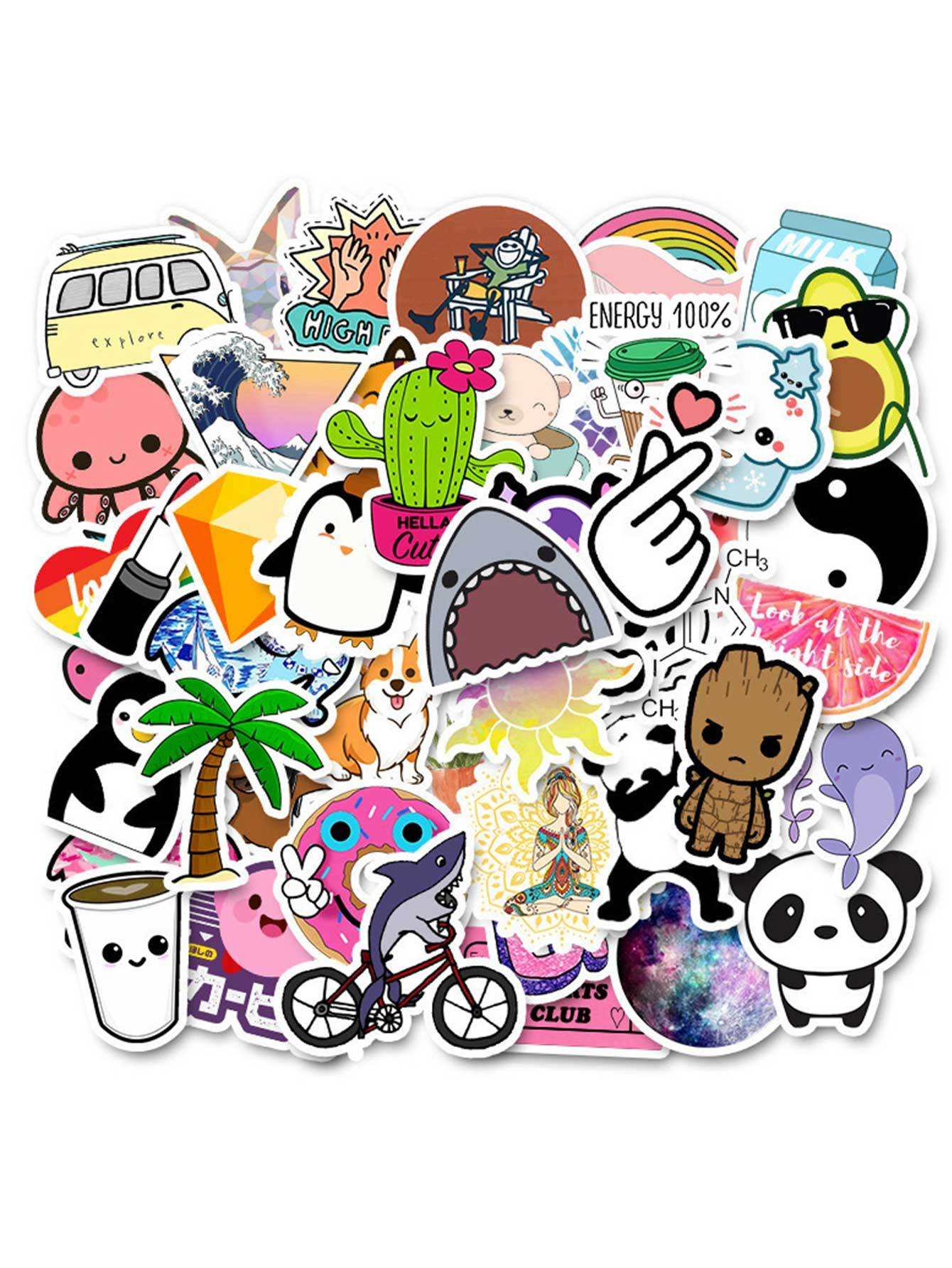 Cartoon Animal Pattern Sticker 50pcs