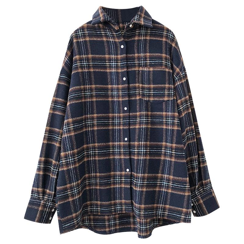 Plaid Jacket Wild Casual College Style Loose Wide Edition Thin Plaid Shirt Jacket
