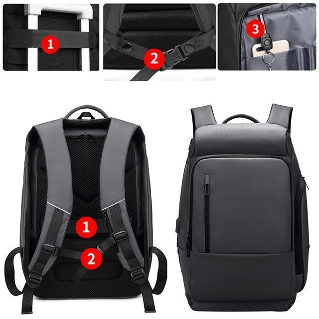 17-inch men's waterproof multi-function backpack with USB port