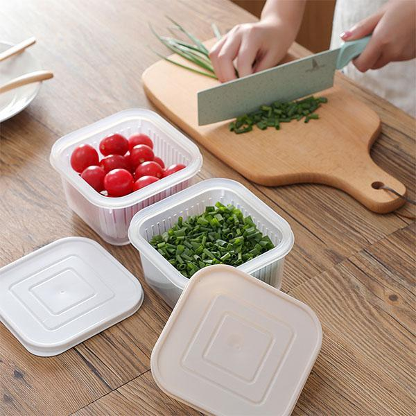 Kitchen thick multi-color fruit fresh-keeping with drain pad sealed storage box