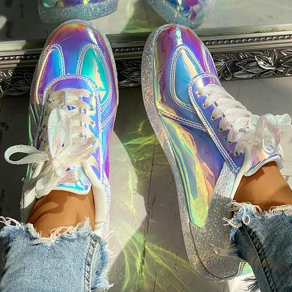 Faddishshoes Fashion Glitter Colorblock Lace-up Sneakers