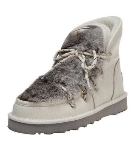 Short Boots 2019 autumn and winter new wool lining thick bottom CHIC thin rabbit fur decoration strap snow boots warm short boots