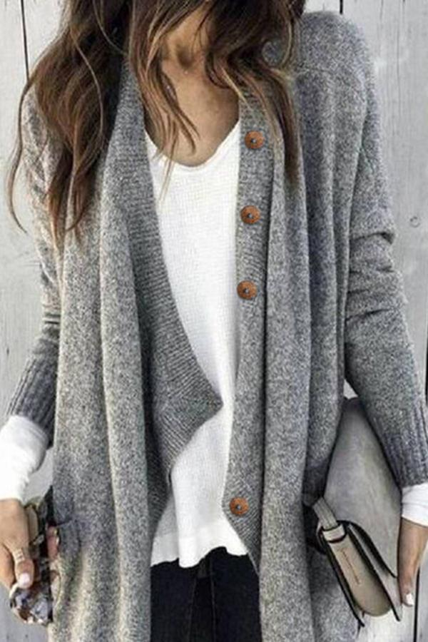 Paneled Sold Buttoned Casual Knitted Cardigans