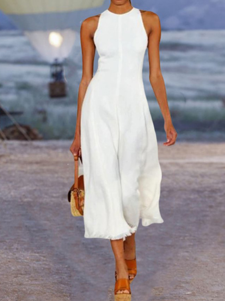 Sleeveless Solid Color Jumpsuit