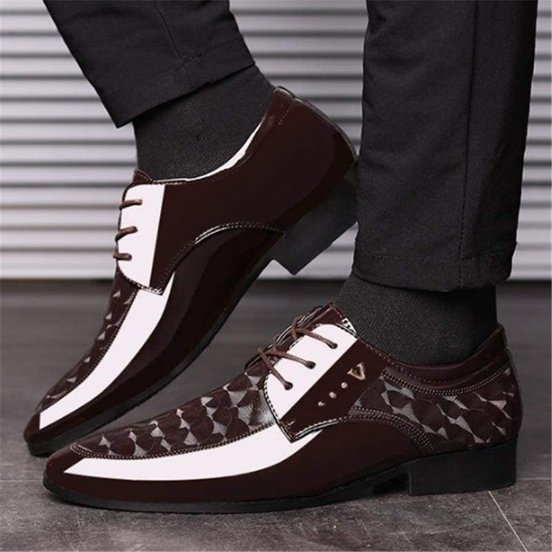 Men Formal Shoes Lace Up Pointed Toe Patent Leather Oxford Shoes for Men Dress Shoes Business Plus Size 38-48