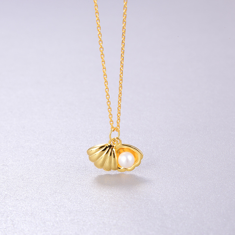 18K Gold Pearl Shell Necklace