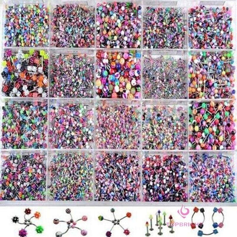 Wholesale 110PCS Belly Button Navel Rings Barbell Tongue Nose Body Piercing Jewelry