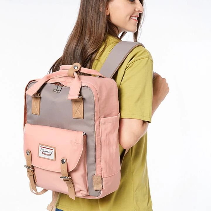 Women Canvas Casual Patchwork Backpack
