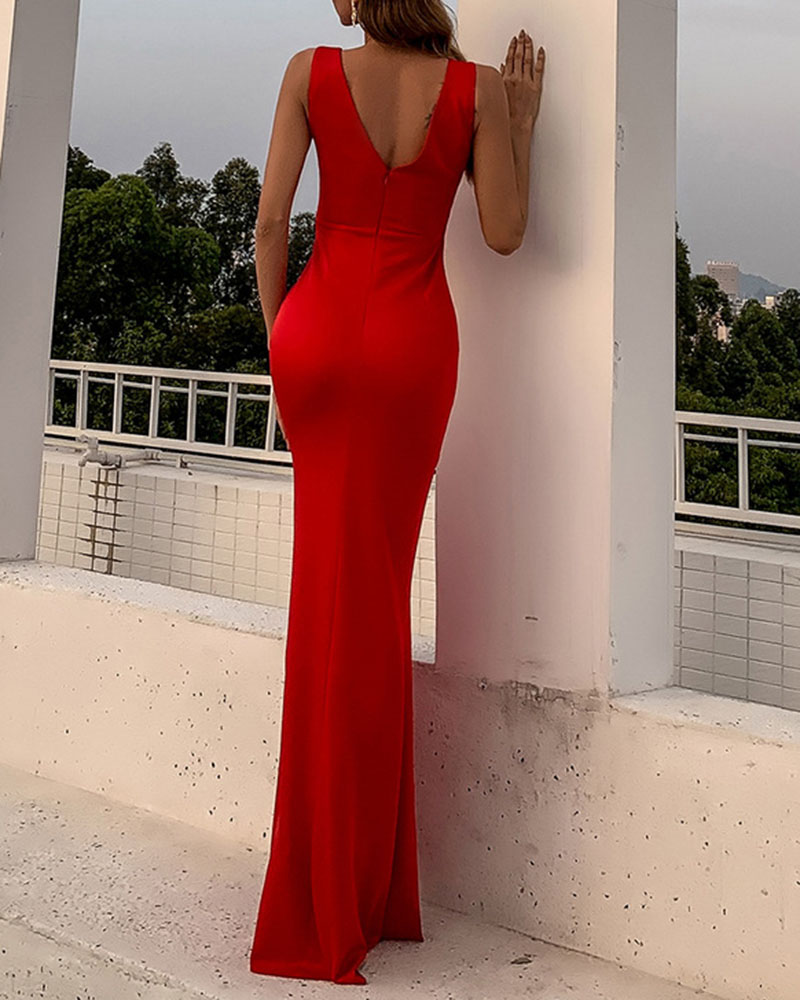 Sleeveless Flouncing Mermaid Evening Dress