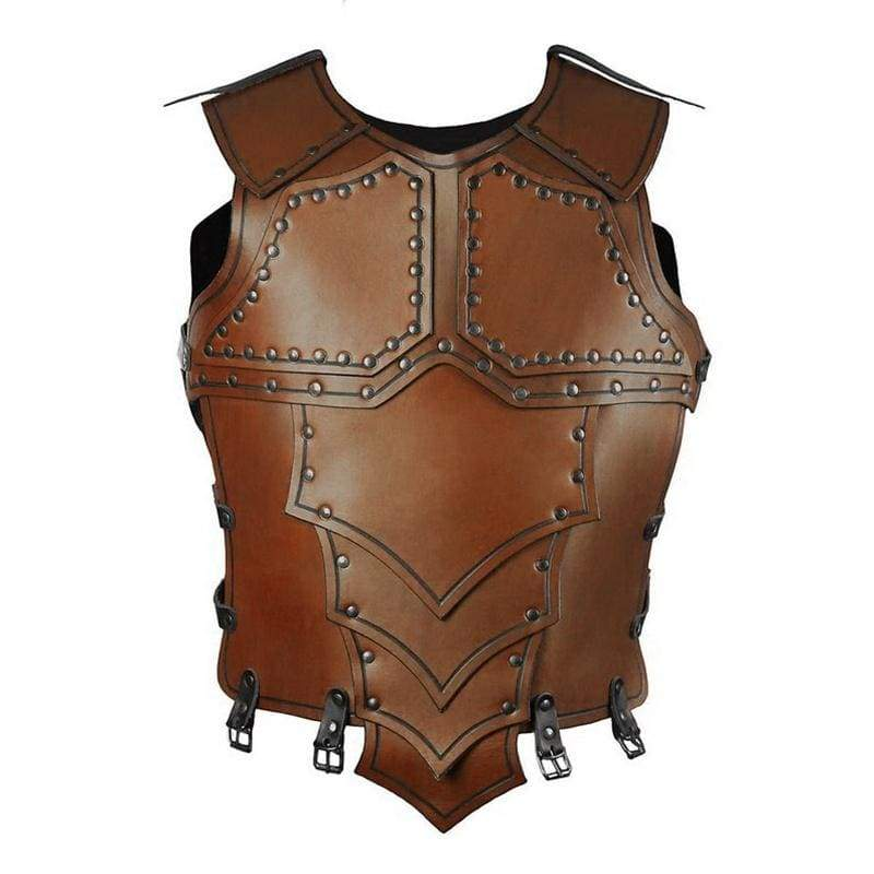 Cosplay Medieval Retro Knight Leather Armor top Men's Punk Armor Stylish Chaps Armour Cosplay Costume Accessories Gladiator Warrior Leather Armour