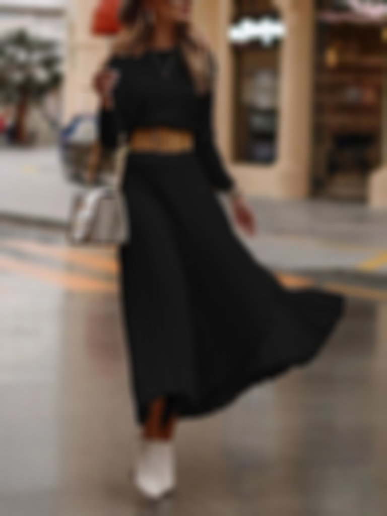TWO-PIECE FASHION SOLID COLOR SKIRT