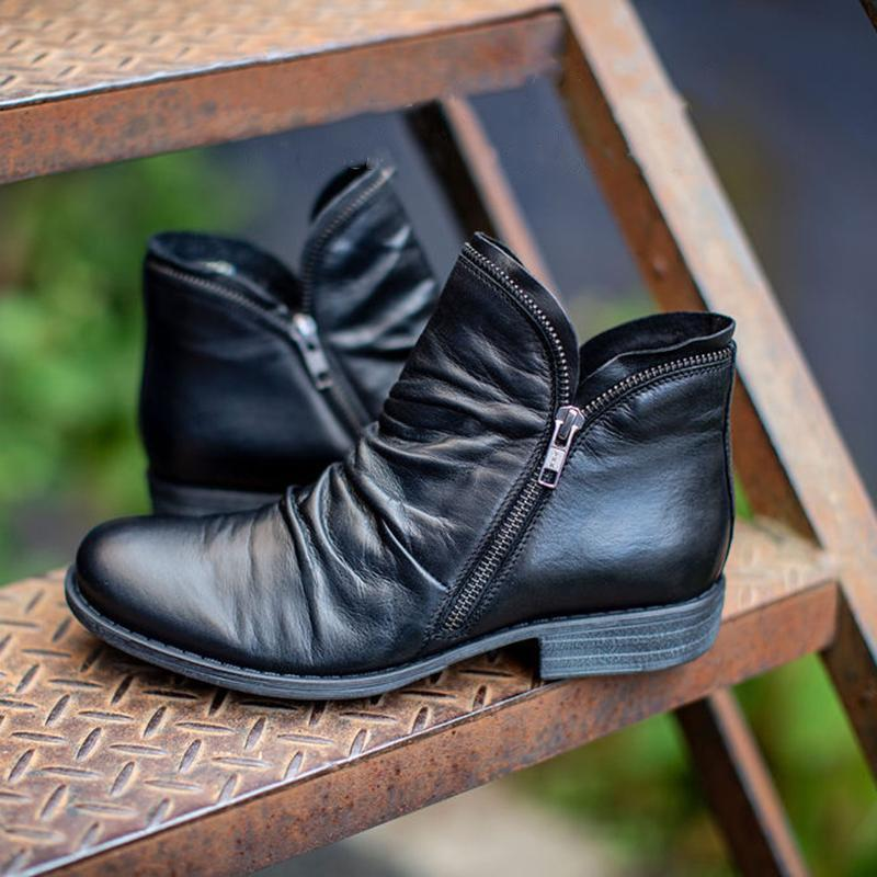 Women's Zipper Leather Comfortable Nude Boots
