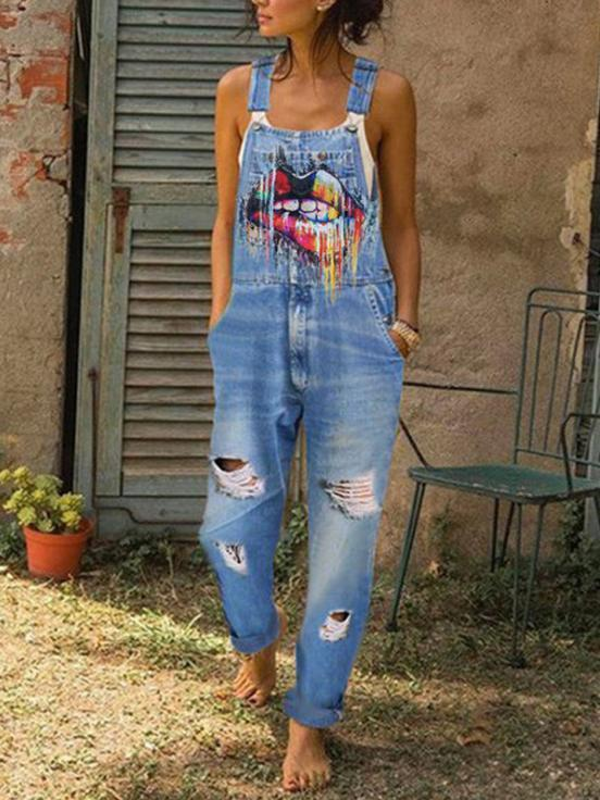 Casual Jeans Denim Rompers Sleeveless Jumpsuit