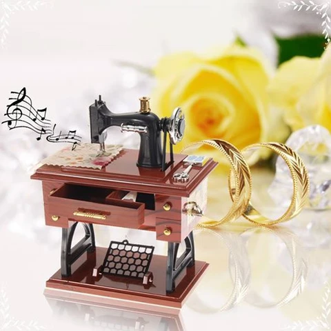 (Early Mother's Day Hot Sale-48% OFF)Handmade Wood Mini Sewing Machine Music Box