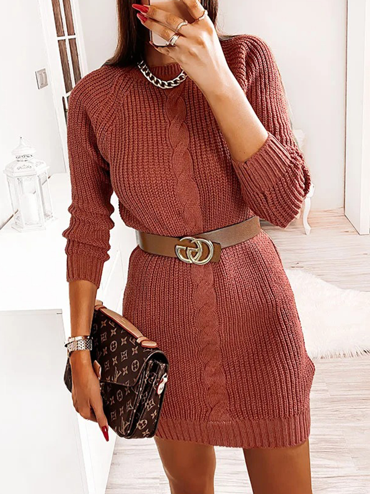 Women'S Autumn And Winter Knitted Sexy Simple Sexy Dress