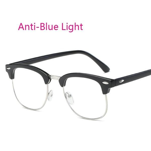 Fashion Anti-Blue Rays Computer Goggles  Glasses Half Frame Vintage Rice Stud Advanced Video Gaming Protection Eyewear For Women Men