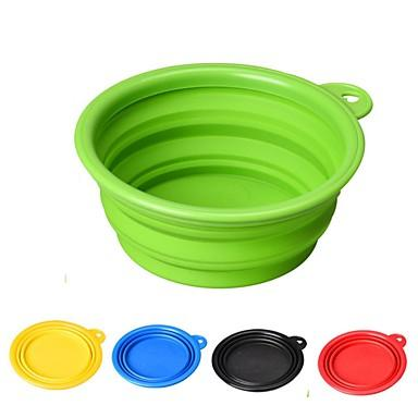 Rodents Dogs Cats Bowls & Water Bottles / Feeders / Food Storage 1/0.35 L Silica Gel Durable Folding Red Green Blue Bowls & Feeding