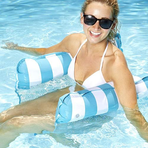 Hot Sale Inflatable Floating Water Hammock / Mesh Pool Hammock with Free Pump