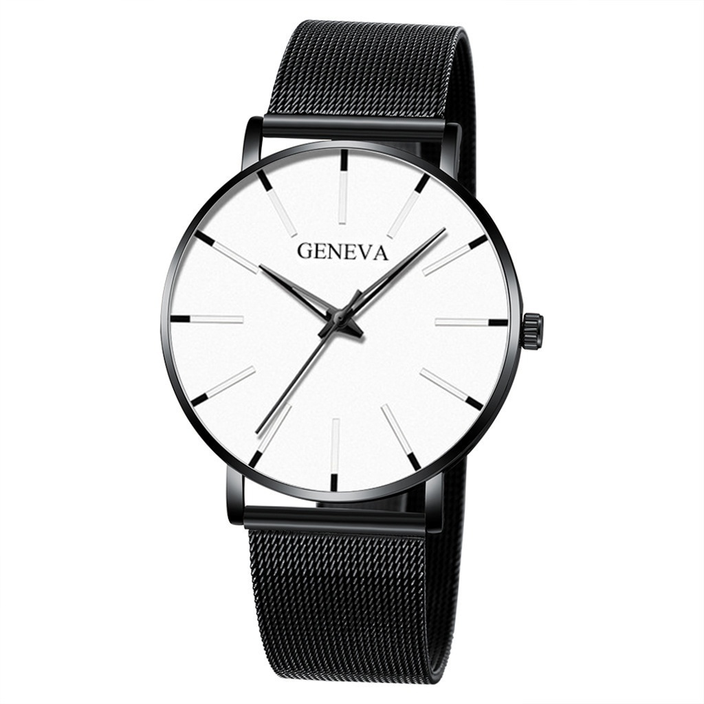 Fashion Watches Men's Luxury Mesh Belt Stainless Steel Quartz Watch Black Ultra Thin Business Casual Simple Wristwatch