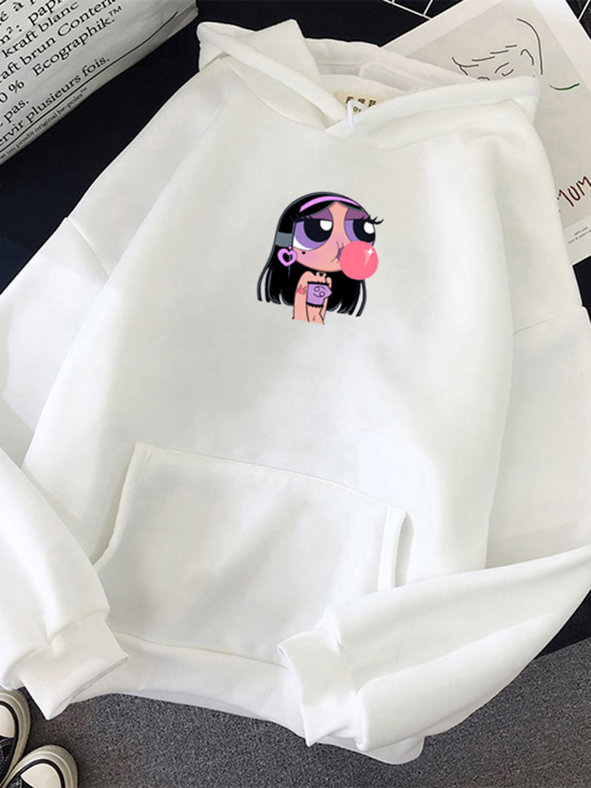 Cute Preppy Cotton,Polyester Long Sleeve Hooded Floral with Hoodies