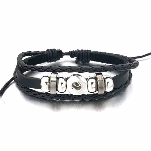 Fashion Original 317 Genuine Leather Hand Weave 18mm 12mm Snap Button Bracelet Interchangeable Charm Jewelry For Women Teenagers